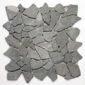 Decorative Pebbles 12&quot; x 12&quot; Interlocking Mesh Tile in Java Black