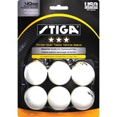 Three-Star White Table Tennis Ball (Pack of 6)