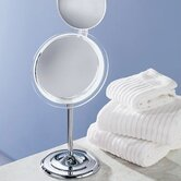 Surround Light Mirror with Pedestal in Chrome
