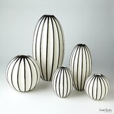 Ribbed Globe Vase in White / Black