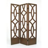 Geometric Emblem Room Divider in Brown