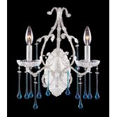 Opulence  Candle Wall Sconce in Antique White and Aqua Crystal