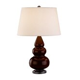 Small Triple Gourd Accent Lamp in Chocolate with Bronze Base