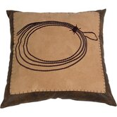 Barbwire Embroidered Rope Pillow in Tan