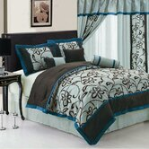 Floral Comforter Set Aqua Blue/ Chocolate