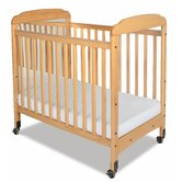 Serenity Compact Sized Mirror End Crib in Natural
