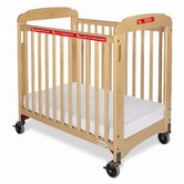 First Responder Compact Sided Evacuation Clearview Crib with Frame in Natural