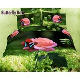 Dolce Mela Butterfly Rose Duvet Cover Set