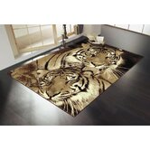 Wildlife Tigers Brown Novelty Rug