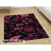 Infinite Damask Black / Pink Contemporary Runner Rug