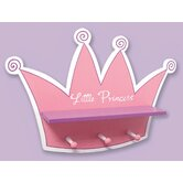 Pink Star Princess Tiara Shelf with Three Peg Hooks