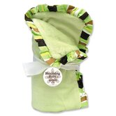 Giggles Velour Baby Blanket in Sage Green with Green Striped Trim