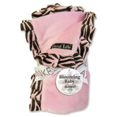Zebra Ruffle Receiving Blanket in Pink