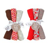 6 Piece Chocolate Kiss Burp Cloth Set
