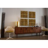 Pura Vida I Shock Wave Teak Panel in Natural with Gold Waves