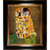 The Kiss (Fullview) Canvas Art by Gustav Klimt Modern  in Opulent Frame