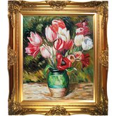 Tulips in a Vase Canvas Art by Pierre Auguste Renoir Traditional