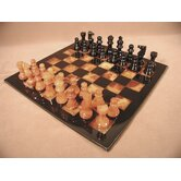 Alabaster Chess Set in Black / Brown