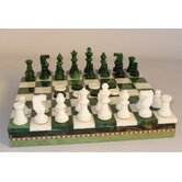 Alabaster Inlaid Chest Chess Set in Green / White