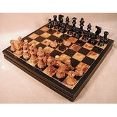 Alabaster Chest Chess Set in Black / Brown