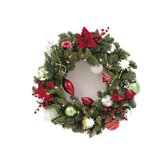 Clear Decorated Wreath With Poinsettia