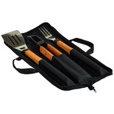 3 Piece Wood Handle Barbecue Set
