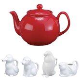 32 Oz. English Style Teapot in Red with Animal Creamer