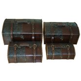 &quot;Cardinal&quot; Leather Trunk, Designer Treasure Chest
