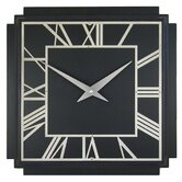 1930's Art Deco Wall Clock in Black