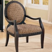 Leopard Print Distressed Fabric Arm Chair