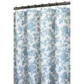 Floral Swirl Shower Curtain in White / French Blue