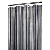 Strings Stripe Shower Curtain in Black / Woodland / Natural / Cocoa