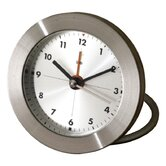 Diecast Round Travel Alarm Clock with Arabic Numerals