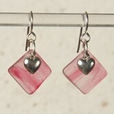 Heart Charm Earring in Pink