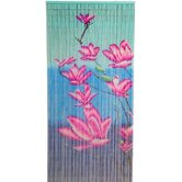Pink Flower on Blue Background Curtain