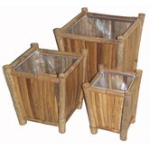 3 Piece Bamboo Square Planters Set