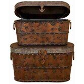 Toscana Wood Metal Trunk (Set of 2)