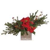 Floral Artificial Potted Pine Branch and Velvet Poinsettia in Red and Green