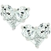 Silver-Tone Heart Cubic Zirconia Stud Earrings