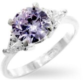 Sterling Silver Round Lavender Cubic Zirconia Ring