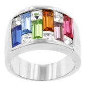 Emerald and Princess Multi Color Cubic Zirconia Candy Maze Ring