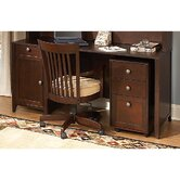 Grand Expressions Americana Home Double Pedestal Computer Desk Bundle with 3 Drawer