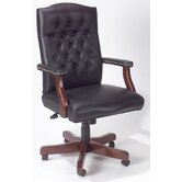 Traditional High-Back Italian Leather Office Chair