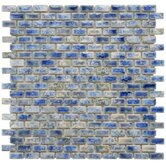"Arcadia 11-3/4"" x 11-3/4"" Glazed Porcelain Subway Mosaic in Neptune Blue"