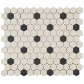 "Vintage 11"" x 12-5/8"" Porcelain Hexagon Mosaic in Antique with Black Dot"