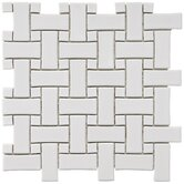 "Basket Weave 9-3/4"" x 9-3/4"" Porcelain Mosaic in White"