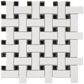 "Basket Weave 9-3/4"" x 9-3/4"" Porcelain Mosaic in White and Black"
