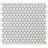 "Penny 12"" x 12-1/4"" Porcelain Mosaic in White"