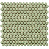 Penny 12&quot; x 12-1/4&quot; Porcelain Mosaic in Moss Green