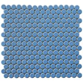 "Penny 12"" x 12-1/4"" Porcelain Mosaic in Light Blue"